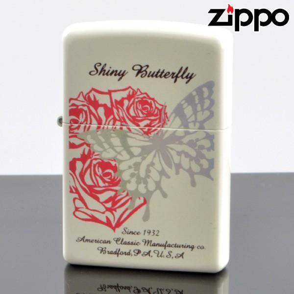 ZIPPO#200 シャイニーバタフライ パールホワイト プリント2色 金属箔プリントsb-pw (10020045) ジッポーライター