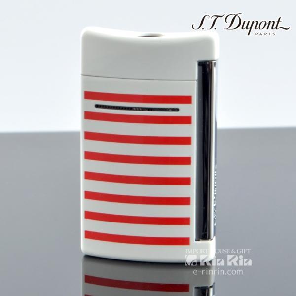 デュポン ライター 10108 ミニ・ジェット(X・tend mini) Minijet ボーダーコレクション ホワイトラッカー レッドストライプ デュポンライター (Dupont) ターボ
