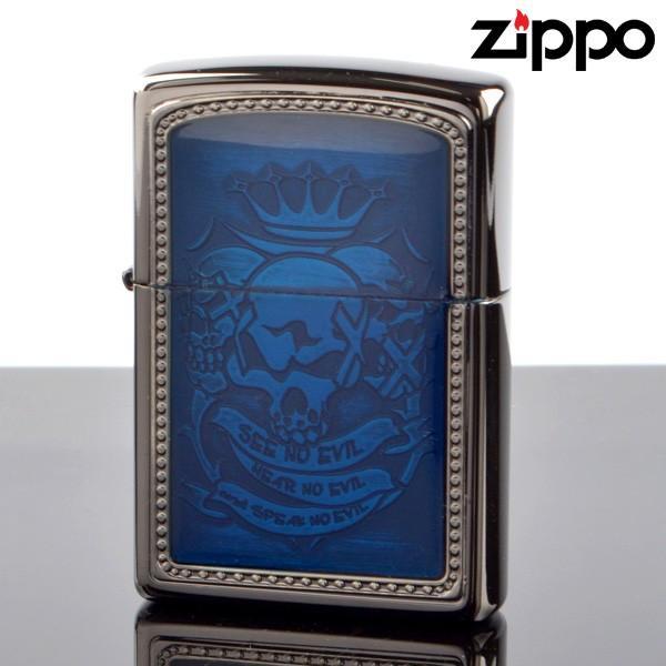 fukashiro ZIPPO ジッポライター 1201s399 NO_EVIL フレームブルー ブラックニッケルエッチング プレートエポキシ加工