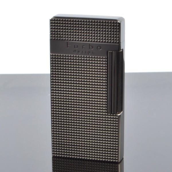 Furbo design fd100-05 ブラックシルバー サテーナ 格子彫刻 フリントガスライター サロメライター