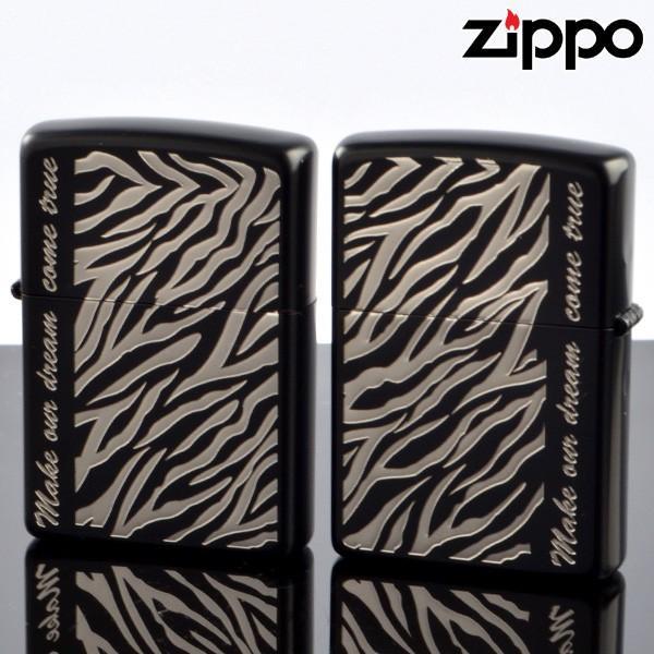 ZIPPOペア#200 #200 アニマルプラネットペアセット ゼブラ ZB-PR エッチング 凹面ニッケルメッキ イオンブラックマット仕上げ ジッポーライター