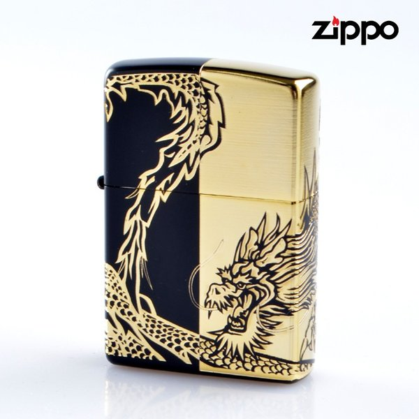 Zippo ジッポライター 2bkg-drhf 龍4面 マットブラック エッチング金サシ仕上げ4面連続加工