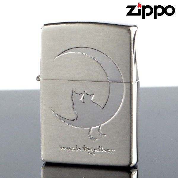 Zippo 2cat-ssb キャット&ムーン Bタイプ猫 SV シルバーサテーナ エッチング ジッポライター