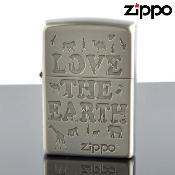Zippo ジッポライター 2le-nb LOVE the EARTH アンティークニッケル エッチング オイルライター
