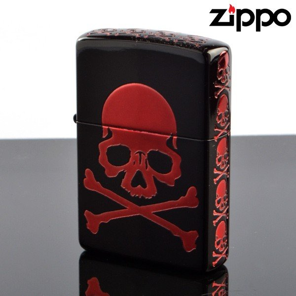 Zippo ジッポライター zp252007 Skull V スカルRD zp252007 5面エッチング加工 マットブラック