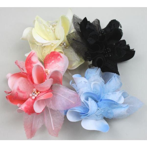 3連花モチーフコサージュ ドレスや髪飾りに 結婚式・2次会・パーティーに