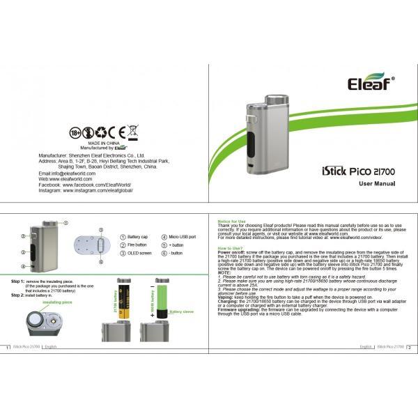 Eleaf iStick Pico 21700 100W TC Box MOD 25mmの乗るPico|e-vapejp|07