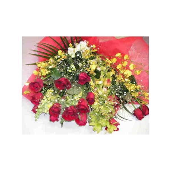 レッドコーラル・バラと蘭オンシジュームとシンビジュームの花束
