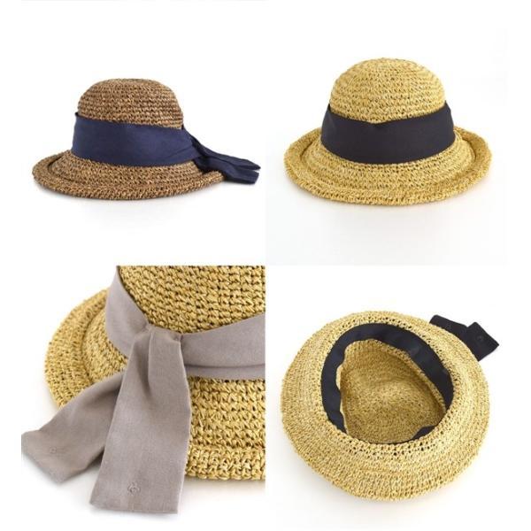 麦わら帽子 ハット レディース 折りたたみ 紫外線対策 UV対策 帽子 ペーパーハット ツバ広 日焼け対策 サイズ調整 ストローハット 夏|e-zakkamania|14