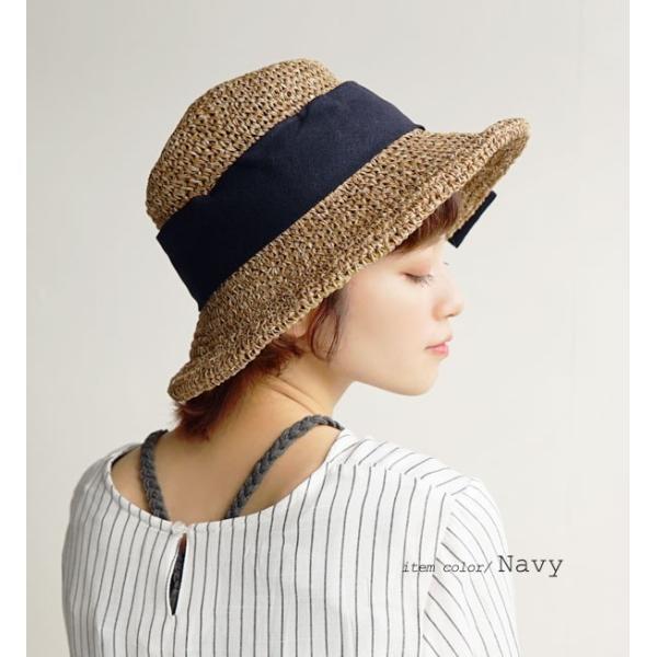 麦わら帽子 ハット レディース 折りたたみ 紫外線対策 UV対策 帽子 ペーパーハット ツバ広 日焼け対策 サイズ調整 ストローハット 夏|e-zakkamania|10