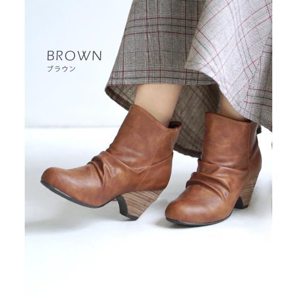 ショートブーツ レディース ブーティー ブーツ 歩きやすい 痛くない 秋 冬 フェイクレザー 婦人靴 チェック柄 無地|e-zakkamania|12