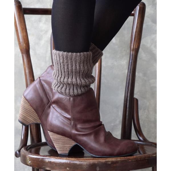 ショートブーツ レディース ブーティー ブーツ 歩きやすい 痛くない 秋 冬 フェイクレザー 婦人靴 チェック柄 無地|e-zakkamania|15