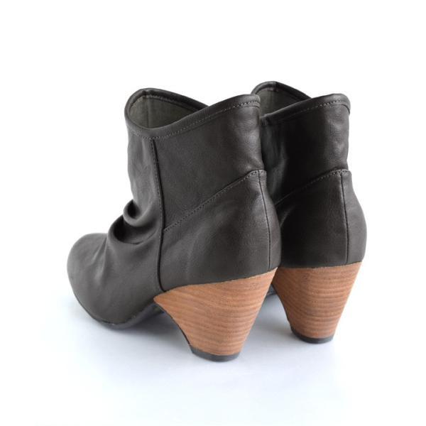 ショートブーツ レディース ブーティー ブーツ 歩きやすい 痛くない 秋 冬 フェイクレザー 婦人靴 チェック柄 無地|e-zakkamania|19