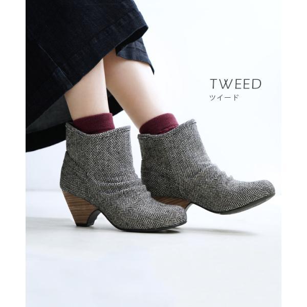 ショートブーツ レディース ブーティー ブーツ 歩きやすい 痛くない 秋 冬 フェイクレザー 婦人靴 チェック柄 無地|e-zakkamania|08