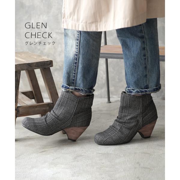 ショートブーツ レディース ブーティー ブーツ 歩きやすい 痛くない 秋 冬 フェイクレザー 婦人靴 チェック柄 無地|e-zakkamania|10