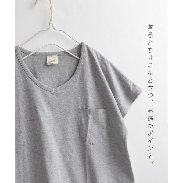 汗しみ防止 Tシャツ レディース 半袖 汗 吸収 脇汗 速乾 UVカット 紫外線対策 綿100% カットソー Vネック 無地 トップス tシャツ|e-zakkamania|11