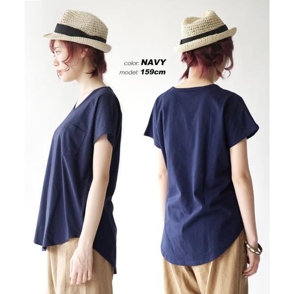 汗しみ防止 Tシャツ レディース 半袖 汗 吸収 脇汗 速乾 UVカット 紫外線対策 綿100% カットソー Vネック 無地 トップス tシャツ|e-zakkamania|15