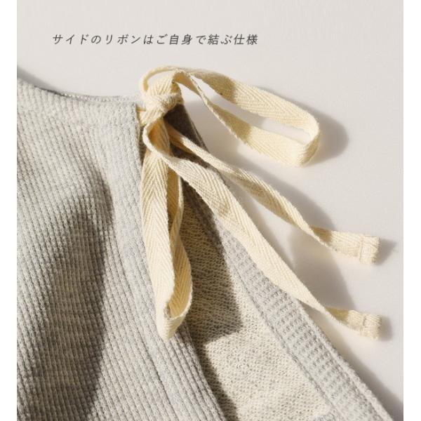 ベスト レディース 春 夏 トップス 羽織り 重ね着 ノースリーブ 丸首 クルーネック 綿混 コットン サーマル ワッフル スウェット カジュアル リボン 異素材|e-zakkamania|05