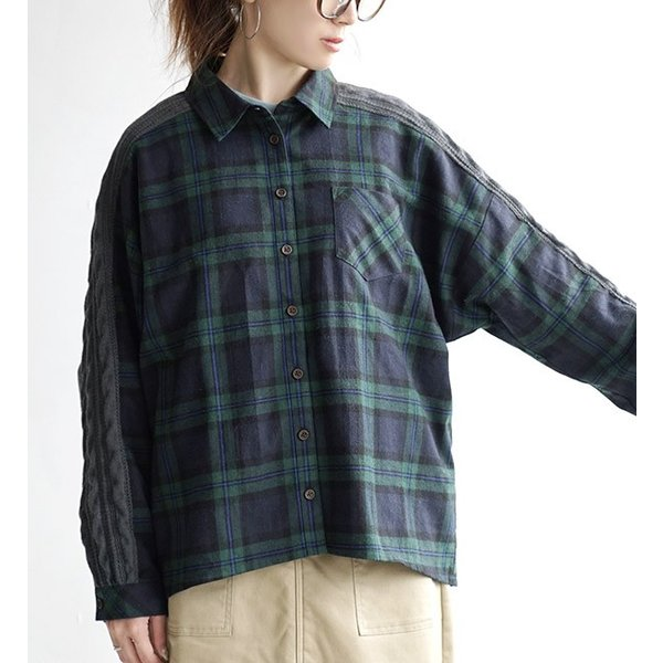 シャツ チェックシャツ チェック ネル 長袖 レディース 大きいサイズ ネルシャツ ニット トップス フランネル e-zakkamania 13