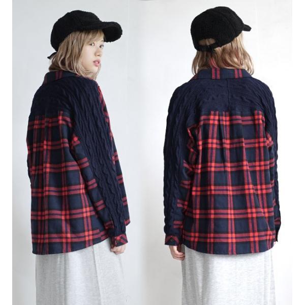 シャツ チェックシャツ チェック ネル 長袖 レディース 大きいサイズ ネルシャツ ニット トップス フランネル e-zakkamania 14