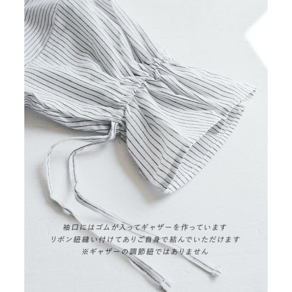 シャツ ブラウス スキッパーシャツ 綿 レディース 七分袖 白シャツ デザイン袖 無地 トップス ストライプ柄 麻 コットン リネン 春 夏 e-zakkamania 12
