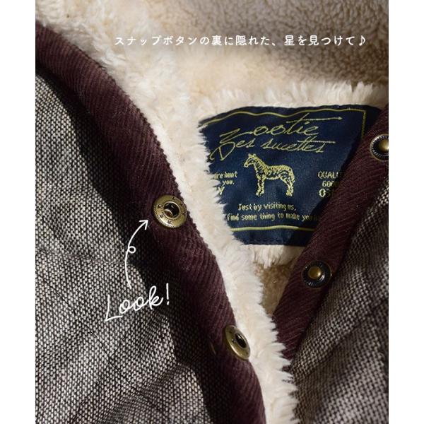 コート フード付 アウター 中綿入り レディース 大きいサイズ ボア ツイード もこもこ あったか 長袖 カジュアル ユニオン|e-zakkamania|12