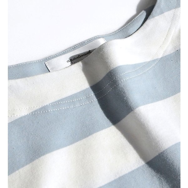 Tシャツ レディース トップス 半袖 五分袖 綿混 コットン混 ボーダー ワイドボーダー カットソー 春 夏|e-zakkamania|08