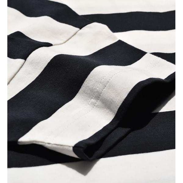 Tシャツ レディース トップス 半袖 五分袖 綿混 コットン混 ボーダー ワイドボーダー カットソー 春 夏|e-zakkamania|10