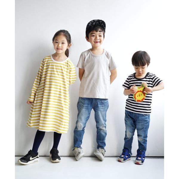 ワンピース キッズ ワンピ 長袖 綿100% 女の子 子供服 お揃い Aライン カットソー コットン ボーダー|e-zakkamania|07