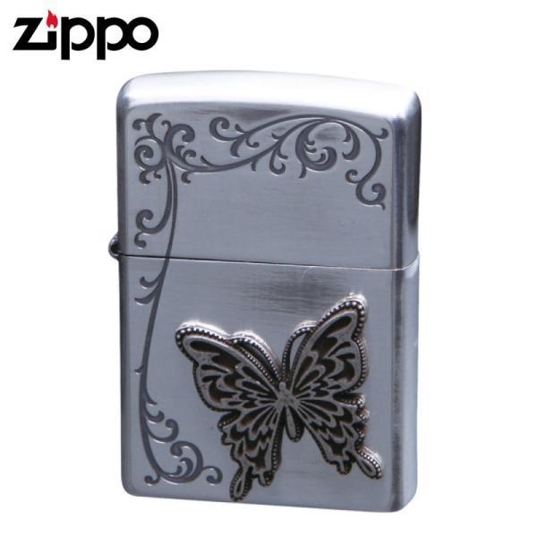 zippo ジッポーライター シークレットガーデンA バタフライ 蝶 銀イブシ&エッチング&メタル TSG-A ギフト プレゼント 贈り物  喫煙具