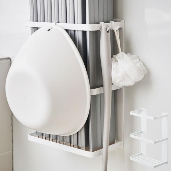 風呂 ふた 収納 マグネット お風呂 MIST マグネットバスルーム折り畳み風呂蓋ホルダー ミスト ホワイト 白