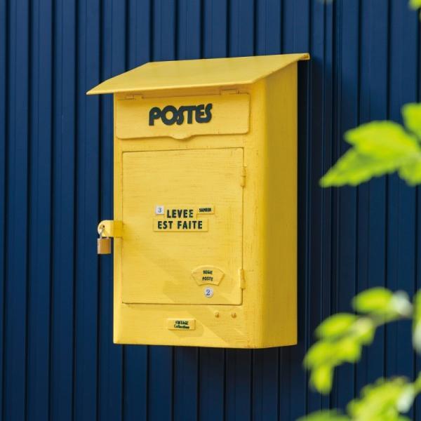 ポスト 壁掛け 埋め込み 壁 南京錠 鍵 鍵付き イエロー 黄色 アメリカン レトロ アンティーク 玄関 おしゃれ かわいい 北欧 郵便 郵便ポスト 郵便受け メールボ