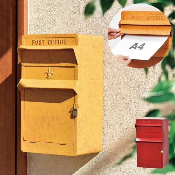 ポスト ディズニー ミッキー 壁掛け 北欧 郵便ポスト 玄関 鍵付き 南京錠 a4 スリム レッド イエロー 赤 黄色 かわいい おしゃれ アンティーク ヴィンテージ レ