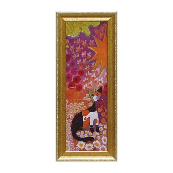 絵画 絵 壁掛け アート 猫 ネコ キャット インテリア 玄関 ロジーナ カラフルフラワー1 RW-03811
