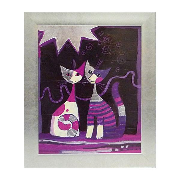 絵画 絵 壁掛け アート 猫 ネコ キャット インテリア 玄関 ロジーナ ファミリアコンソール RW-11011
