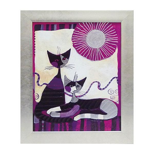絵画 絵 壁掛け アート 猫 ネコ キャット インテリア 玄関 ロジーナ ヴィータデュエ RW-11013