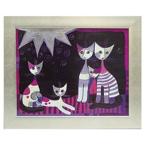 絵画 絵 壁掛け アート 猫 ネコ キャット インテリア 玄関 ロジーナ エスクルシオーネ RW-11014
