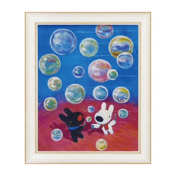 絵画 リサとガスパール リサガス アートフレームLサイズ しゃぼん玉 GL-10005 うさぎ ウサギ イラスト かわいい おしゃれ