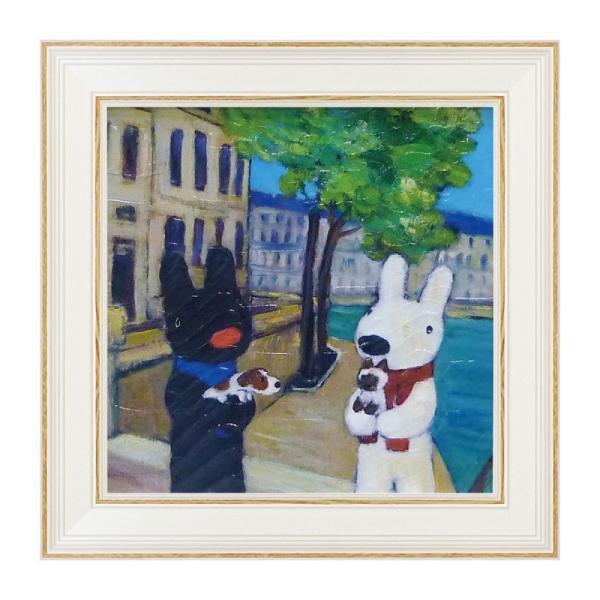 アートパネル リサとガスパール アートフレーム ウォールパネル インテリアパネル 壁掛け 子供部屋 絵画 絵 玄関 いぬとねこ GL-02014 うさぎ ウサギ イラスト かわいい おしゃれ