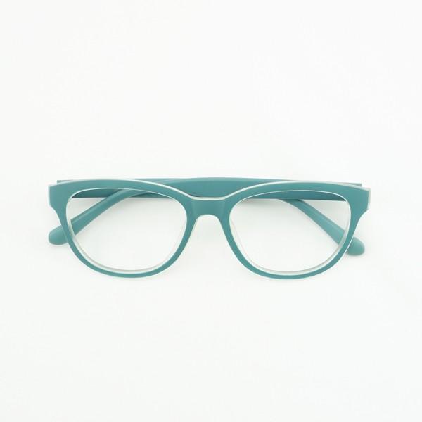 珍しい 個性的なフレーム 度付きメガネ ダテめがね 清々しい山葵(わさび)色 ユニセックス e-zone 02