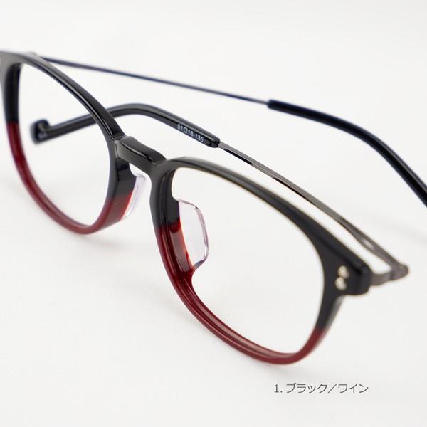 おしゃれ 2色のバイカラー グラデーション メンズ 度付きメガネ ダテめがね|e-zone|10