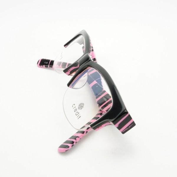 珍しい 個性的 セルフレーム 度付きメガネ ダテめがね ピンク ブルーライトカット|e-zone|06