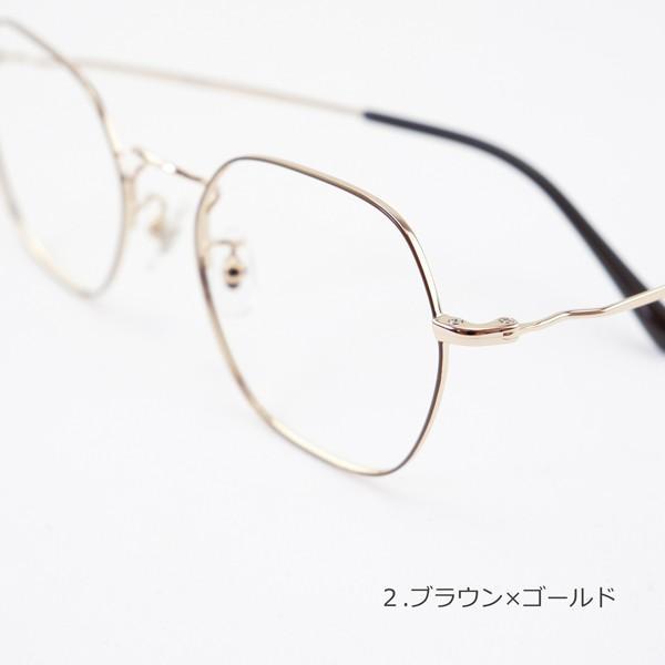 多角形 六角形 ヘキサゴンメタル メンズ おしゃれ 知的 度付きメガネ ダテめがね|e-zone|11