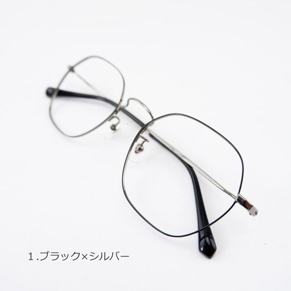 多角形 六角形 ヘキサゴンメタル メンズ おしゃれ 知的 度付きメガネ ダテめがね|e-zone|07