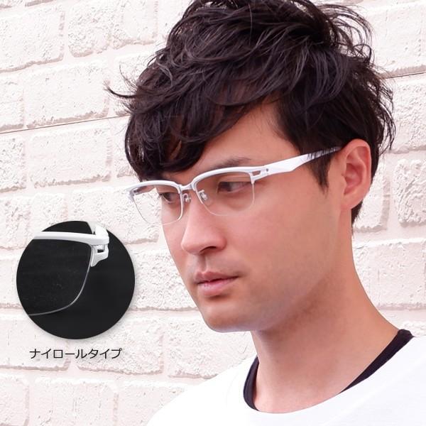 白いフレーム おしゃれ ホワイト サーモント ナイロール メンズ 度付きメガネ ダテめがね ブルーライトカット|e-zone|02