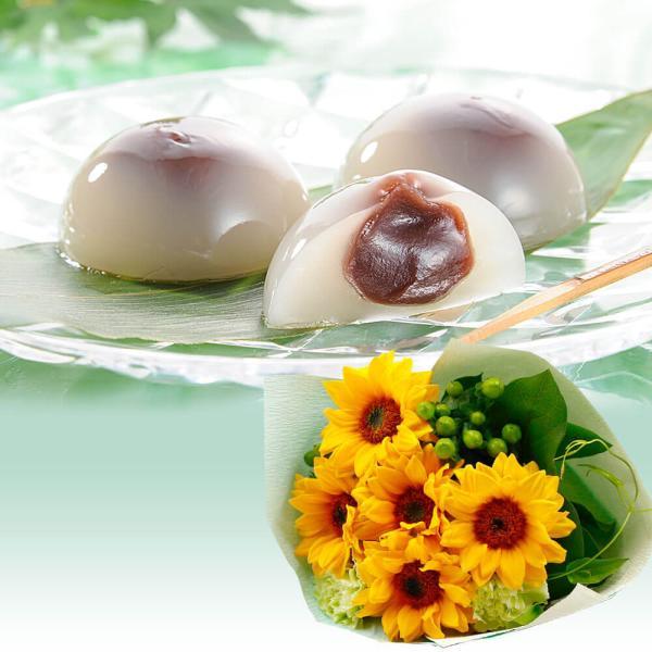 花ギフト スイーツセット つるや製菓 水まんじゅう お菓子 花束 ヒマワリ カーネーション