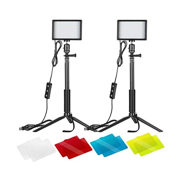 Neewer 2パック調光可能な5600K USB LEDビデオライト 調節可能な三脚スタンド/カラーフィルター付き 卓上/ローアン