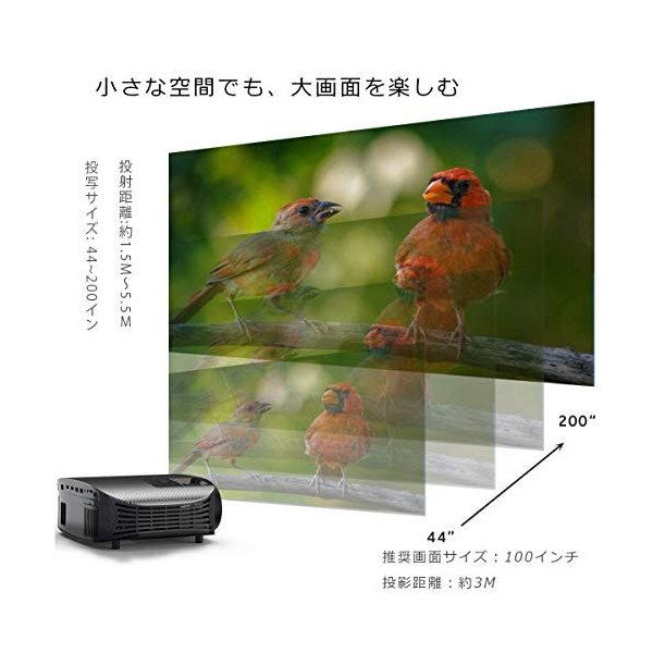 Vamvo プロジェクター LED ホームプロジェクター 3500ルーメン 1080p最大解像度 HDMIケーブル付属 L3600 特別なアイテ|ea-s-t-store|06