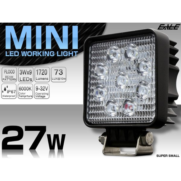LED ミニ作業灯 27W ワークライト 角型 1720ルーメン CREE製XB-Dチップ 従来比約50% 小型モデル 12V/24V P-469|eale