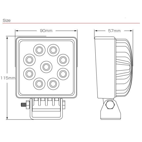 LED ミニ作業灯 27W ワークライト 角型 1720ルーメン CREE製XB-Dチップ 従来比約50% 小型モデル 12V/24V P-469|eale|06